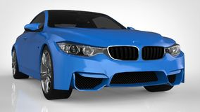 Blue Sports car. 3d rendering. Blue Sports car. 3d rendering Royalty Free Stock Images