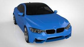 Blue Sports car. 3d rendering. Blue Sports car. 3d rendering Royalty Free Stock Photos