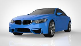Blue Sports car. 3d rendering. Blue Sports car. 3d rendering Royalty Free Stock Photo