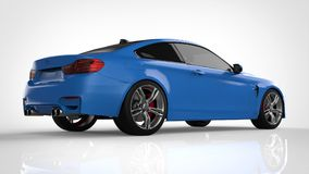 Blue Sports car. 3d rendering. Blue Sports car. 3d rendering Royalty Free Stock Photography