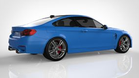 Blue Sports car. 3d rendering. Blue Sports car. 3d rendering Royalty Free Stock Image