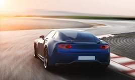 Blue sports car driving on racetrack. Photorealistic 3d render, generic design, non-branded Royalty Free Stock Image