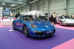 Blue sports car, Porsche 911 Targa Stock Image