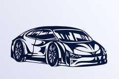 Blue sports car sketch Royalty Free Stock Photography