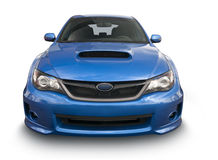 Subaru sports car isolated on white. A blue Subaru sedan isolated on white. Clipping Path on vehicle. This is an actual photo, not 3-D rendering Royalty Free Stock Photography