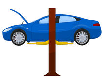 Blue sports sedan on a lift. Vector illustration isolated on white Royalty Free Stock Photo