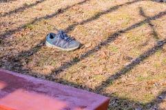 Blue sports shoe next to a park bench Stock Photos