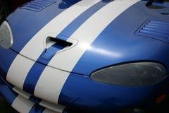 Blue Sportscar Hood. The hood of a classic blue sports car Stock Photography