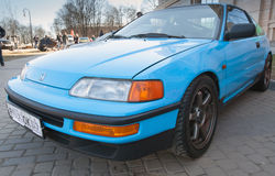 Blue sporty Honda Civic CRX stands parked Royalty Free Stock Photos