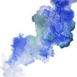 Blue spot, watercolor abstract hand painted background. Vector abstraction of blue watercolor stain on white background stock illustration