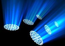 Blue spotlights on dark background. Illustration of Blue spotlights on dark background Royalty Free Stock Photo