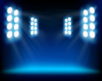 Blue spots. Row of blue lights from a stage. Vector illustration Royalty Free Stock Photo