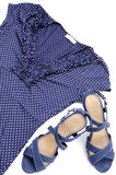 Blue spotted blouse and sandal Royalty Free Stock Image
