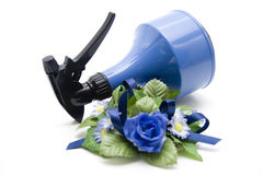 Blue spray bottle Royalty Free Stock Image