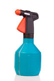 Blue spray. Bottle with a black top and orange tip on a white background Stock Photo