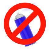 Blue Spray Can with prohibition sign Royalty Free Stock Photos
