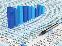 Blue spreadsheet and pen. Spreadsheet with pen and blue  graph bars with numbers in background Stock Images