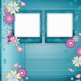 Blue spring background with two frame Stock Photography