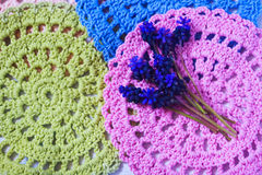 Blue spring flowers on a crochet napkins Royalty Free Stock Image