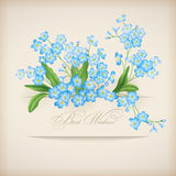Blue Spring Flowers Forget-me-not Greeting Card. Floral postcard with banner, shadows and text Best Wishes! on a beige background in retro style. Perfect for royalty free illustration