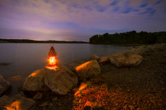 Blue Springs sjö på natten royaltyfri foto