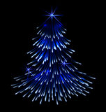 Blue spruce fir christmas  trace fireworks Royalty Free Stock Photography
