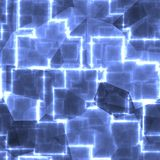 Blue square abstract light shape cubes background. Image Royalty Free Stock Photography