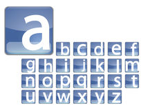 Blue square alphabet Royalty Free Stock Photography