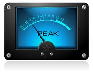 Blue Square Analog Meter. A blue electronic analog meter with peak on it Royalty Free Stock Photography