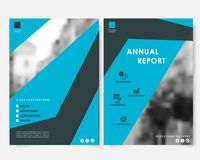 Blue square annual report cover design template with blurred photo vector. Brochure concept presentation website. Portfolio. Keynote layout leaflet template stock illustration