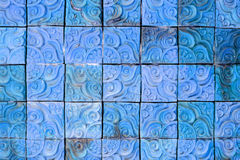 Blue square brick wall background Stock Image