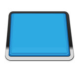 Blue square button. With metal frame. Vector illustration Royalty Free Stock Photo