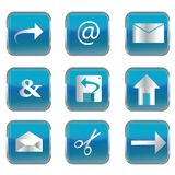 Blue square buttons with pc icons Stock Photos