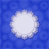 Blue Square Card with Round White Vignette Stock Images