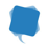 Blue square chat bubble icon Stock Photography