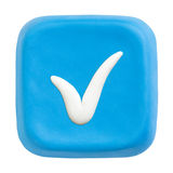 Blue square checked key. Clipping paths Royalty Free Stock Image