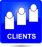 Blue square clients button Royalty Free Stock Photo