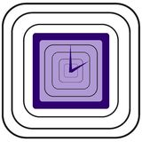 Blue square clock with blue arrows and black looking like metal rounded squares around Royalty Free Stock Photography