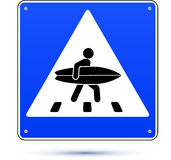 Blue square crossing road sign with surfer Stock Photography