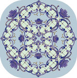 Blue square floral pattern Stock Images