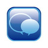 blue square frame with speech bubbles Royalty Free Stock Image