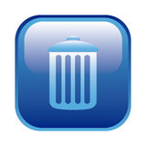 Blue square frame with trash container icon. Illustration Royalty Free Stock Photography