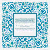 Blue square frame. Vector illustration Royalty Free Stock Photo