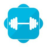 Blue square icon barbell Royalty Free Stock Image