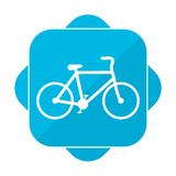 Blue square icon bicycle Stock Photo