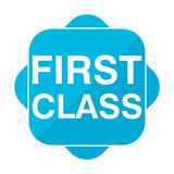 Blue square icon first class. Vector icon Royalty Free Stock Photography