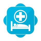 Blue square icon hospital bed Stock Image