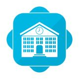 Blue square icon school. Vector icon Royalty Free Stock Photo