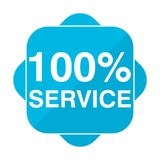 Blue square icon 100% service. Vector icon Royalty Free Illustration