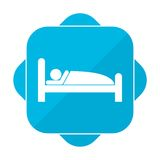 Blue square icon sleeping sign Royalty Free Stock Images